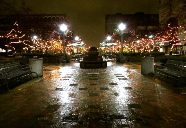 downtown canton rain:lights