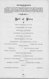 Inaugural Ball Menu 1897